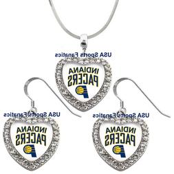 Indiana Pacers 925 Necklace / Earrings or Set Team Heart Wit
