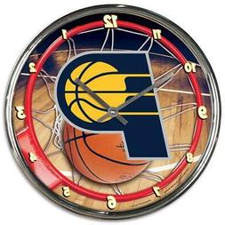 Indiana Pacers Chrome Round Wall Clock  NBA Sign Banner Offi