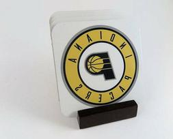 Indiana Pacers Coasters_Metal_ Set of 4 with Mahogany Stand.