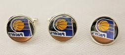 Indiana Pacers Cufflinks and Tie Tack Set Upcycled from NBA