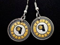 Indiana Pacers earrings on dime coin
