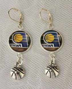 Indiana Pacers Earrings w/Basketball Charm Unique Upcycled f
