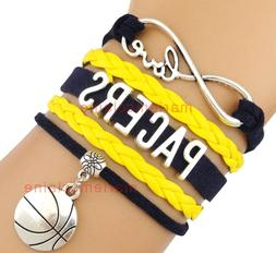 Indiana Pacers Infinity Jewelry Bracelet NBA Basketball Char