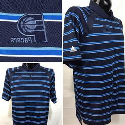 INDIANA PACERS Mens Polo Shirt Size L Blue Golf Polyester S/