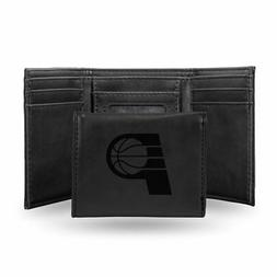 Indiana Pacers NBA Laser Engraved Black Trifold Wallet