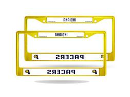 Indiana Pacers NBA  Yellow Painted Chrome Metal License Plat