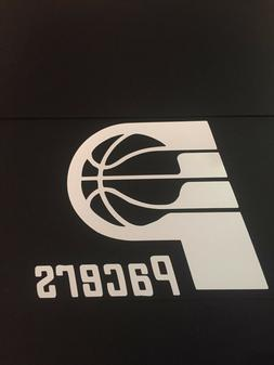 INDIANA PACERS NBA WHITE VINYL STICKER / DECAL