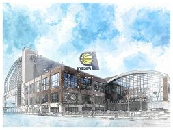 Indiana Pacers Poster Architectural Design Art Print Man Cav