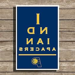 Indiana Pacers Poster NBA Basketball Eyechart Art Print 12x1