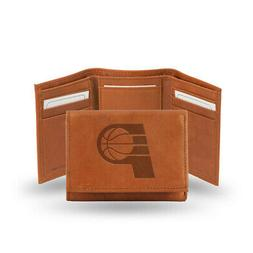 Indiana Pacers Tan Leather Tri Fold Wallet Embossed Logo