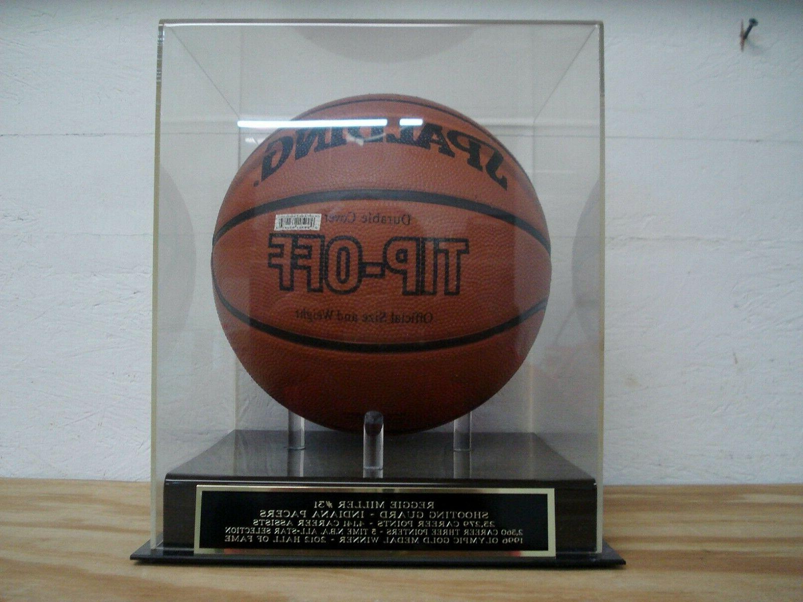 reggie miller basketball display case with an