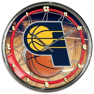 indiana pacers chrome round wall clock new