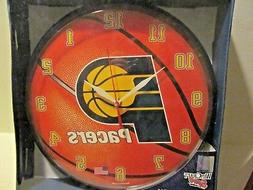 NBA 12 in. Round Wall CLOCK~INDIANA PACERS~Basketball~NEW in