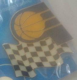 NBA Indiana Pacers Checkered Flag Logo Pin Aminco NIP Vintag