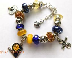 NBA INDIANA PACERS Crystal European Team Logo Charm Bracelet