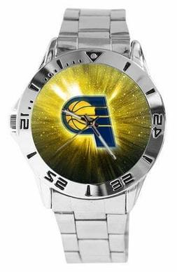 NBA Indiana Pacers Watch Mens Stainless Steel Band Gold Face