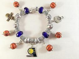 Official NBA INDIANA PACERS Basketball Charm Bracelet Silver